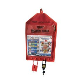 LOCKOUT PERMIT DOCUMENT HOLDER RED WITHOUT MATERIAL-KRM-K-FPTH-RT