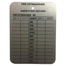 100pcs KRM LOTO – FIRE EXTINGUISHER RECORD TAGS – ALUMINIUM