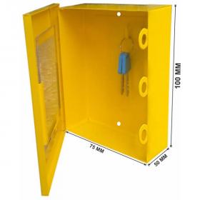 KRM LOTO – LOCKOUT KEY & DOCUMENTATION BOX- clear fascia- yellow -175-3