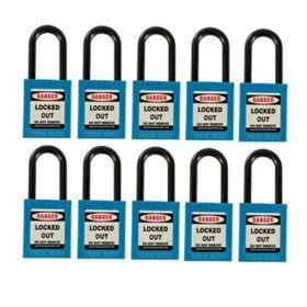 10pcs OSHA Safety Isolation Lockout Padlock - Nylon Shackle with Differ Key and Master Key