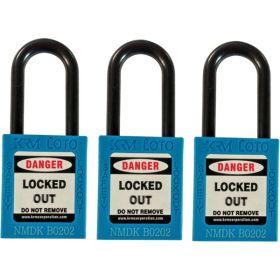 3pcs OSHA Safety Isolation Lockout Padlock - Nylon Shackle with Alike Key