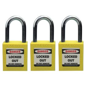3pcs OSHA Safety Isolation Lockout Padlock - Metal Shackle with Differ Key