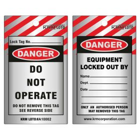 100pcs KRM LOTO - DANGER - DO NOT OPERATE TAG - ALUMINIUM METAL TAG