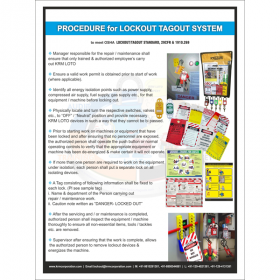 5PCS KRM LOTO - PROCEDURE FOR LOKOUT TAGOUT SYSTEM SAFETY POSTER  (ACP SHEET) 6ft X 4ft