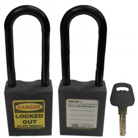 OSHA SAFETY LOCK TAG PADLOCK – NYLON – LONG SHACKLE - BLACK