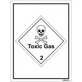 50pcs Self Adhesive Labels - Toxic Gas