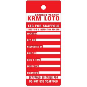 25pcs - ERECTION & INSPECTION RECORD SCAFFOLD TAG - RED KRM LOTO
