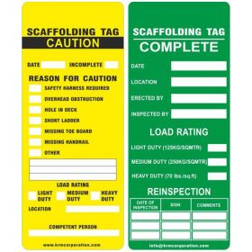 25pcs - KRM LOTO - REASON FOR CAUTION - SCAFFOLD TAG