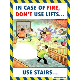 5pcs KRM LOTO - IN CASE OF FIRE DOT'T USE LIFT SAFETY POSTER (ACP SHEET) 4ft X 3ft