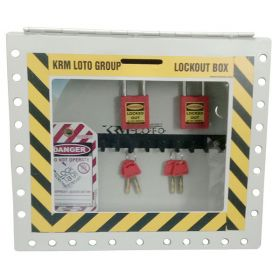KRM LOTO – PORTABLE/WALL MOUNTED UNIQUE GROUP LOCKOUT BOX GREY (27HOLES) WITHOUT MATERIAL