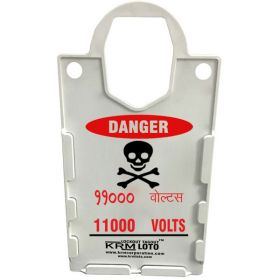 10pcs KRM LOTO – LARGE DISPLAY  TAG HOLDER - DANGER 11000 VOLTS-BILINGUAL