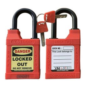 KRM LOTO - WEATHER/ WATER  PROOF OSHA SAFETY LOCK TAG PADLOCK – 38MM NYLON SHACKLE HEIGHT