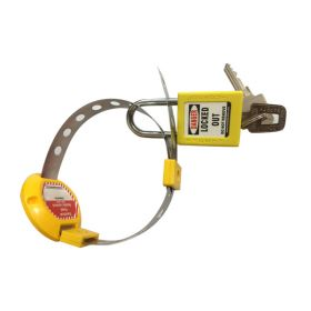 ELECTRICAL HANDLE PANEL LOCKOUT YELLOW WITH PADLOCK