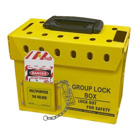 KRM-LOTO PORTABLE GROUP LOCKOUT BOX WITH METAL POCKET  (12 HOLES) YELLOW