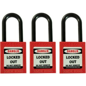 3pcs OSHA Safety Isolation Lockout Padlock - Nylon Shackle with Differ Key