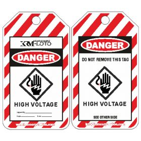 25pcs KRM LOTO - DANGER - HIGH VOLTAGE TAG