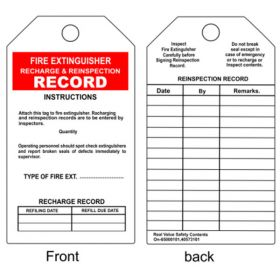 100pcs - KRM LOTO - FIRE EXTINGUISHER RECHARGE & REINSPECTION RECORD