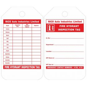 100pcs - KRM LOTO - FIRE HYDRANT INSPECTION (CUSTOMISED TAG)