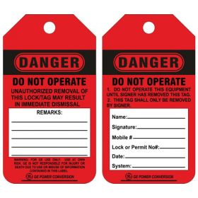 25pcs - KRM LOTO DANGER - DO NOT OPERATE -  CUSTOMISED TAG