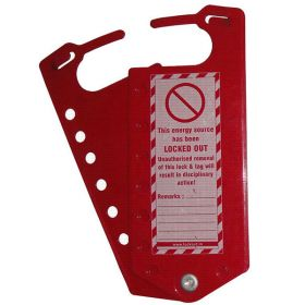 Labeled hasp with 6 holes - one side only - Powder coated metal