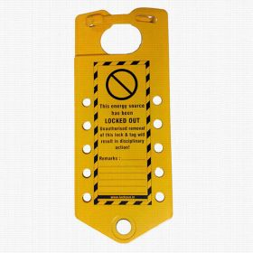 Labeled hasp with 10 holes - Powder coated metal Base Sheet