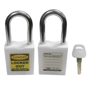 OSHA SAFETY LOCK TAG PADLOCK – METAL SHACKLE-WHITE