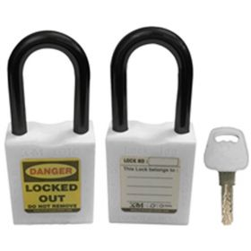 OSHA SAFETY LOCK TAG PADLOCK - NYLON SHACKLE- WHITE