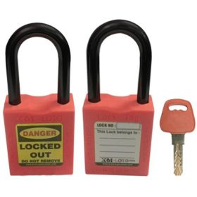 OSHA SAFETY LOCK TAG PADLOCK - NYLON SHACKLE-ORANGE
