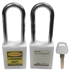 OSHA SAFETY LOCK TAG PADLOCK – METAL – LONG SHACKLE - WHITE