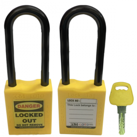 OSHA SAFETY LOCK TAG PADLOCK – NYLON – LONG SHACKLE - YELLOW