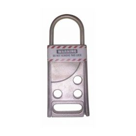 Stainless steel hasp with 3 round holes + 1 straight cut out space to put additional more padlocks
