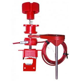 Universal Valve Lockout Device with Small Blocking Arm and Steel Insulated Cable