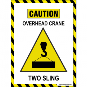 5pcs KRM LOTO - CAUTION OVERHEAD CRANE  TWO SLIG SAFETY POSTER (ACP SHEET) 4ft X 3ft