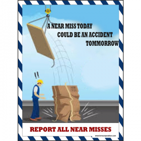5pcs KRM LOTO -  REPORT ALL MISSES SAFETY POSTER (ACP SHEET) 4ft X 3ft