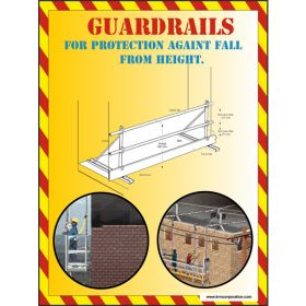 5pcs KRM LOTO - GUARDRAILS FOR PROTECTION AGAINT FAIL FROM HEIGHT SAFETY POSTER (ACP SHEET) 4ft X 3ft