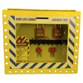 KRM LOTO – PORTABLE/WALL MOUNTED UNIQUE GROUP LOCKOUT BOX YELLOW (27HOLES) WITHOUT MATERIAL