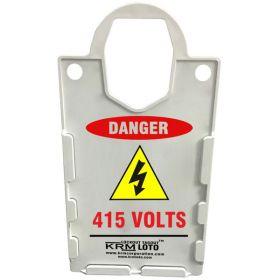 KRM LOTO – LARGE DISPLAY  TAG HOLDER - DANGER 415 VOLTS