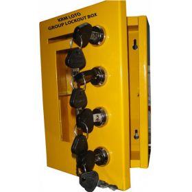 Key safe group lockout box with 4 locks Yellow